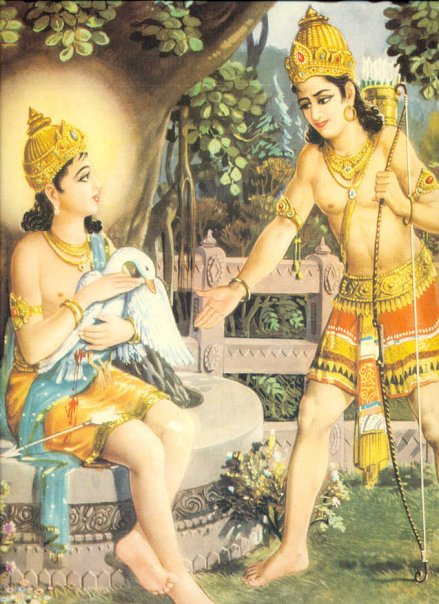 Prince Siddhartha (young Buddha) taking care of injured Swan that was shot by his royal cousin